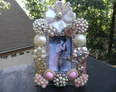 Shabby Chic Pink Rhinestone Vintage Jeweled Glass Picture Frame