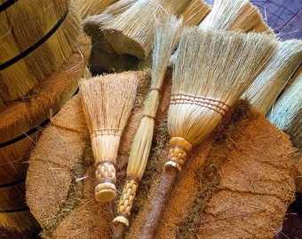Spring Cleaning Brooms Set in All Natural Broom Corn - Kitchen Broom, Whisk & Cobweb Broom