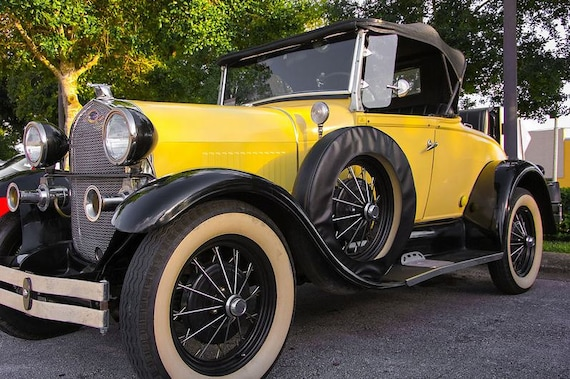 1928 Ford Roadster Car Photography, Automotive, Auto Dealer, Muscle, Sports Car, Mechanic, Boys Room, Garage, Dealership Art