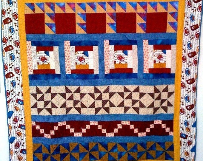 Starbucks is Fattening, 59 x 62 inch coffee quilted wallhanging