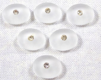 Vintage Art Deco Matte Crystal Clear Oval Glass Cabochons, 10X8 MM, 6