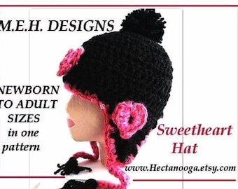 Crochet PATTERN Hat  Earflap Hat PDF 235 - Newborn to adult - Permission To Sell Finished Items - handmade patterns