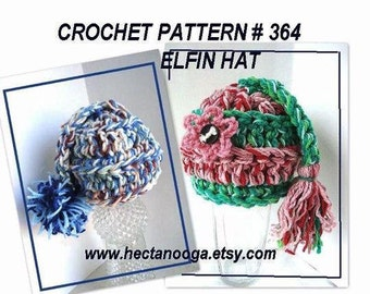 Crochet Pattern, hat, Pixie Elfin Hat,newborn to adult, num. 364, instant download