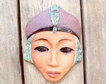 Alien Goddess Mask Wall Decor - Ceramic Terracotta Original Sculpture Wall Art