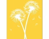Dandelions Series II - 8x10 Floral Print - CHOOSE Your COLORS - Shown in Yellow, Gray, Orange, Pink, and More