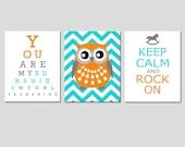 Modern Nursery Art Trio - Set of Three 11x14 Prints - You Are My Sunshine Eye Chart, Chevron Owl, Keep Calm and Rock On - Choose Your Colors