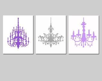 Chandelier Silhouette Art Trio - Set of Three Coordinating 8x10 Chandelier Prints - Kids Wall Art Teen Girl - CHOOSE YOUR COLORS
