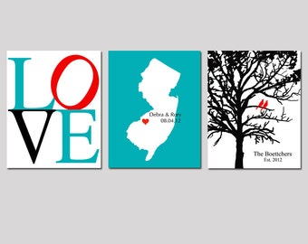 Modern Newlywed Trio - Set of Three 11x14 Custom Prints - Love, Family Established Bird Tree, State Silhouette Map - GREAT WEDDING GIFT