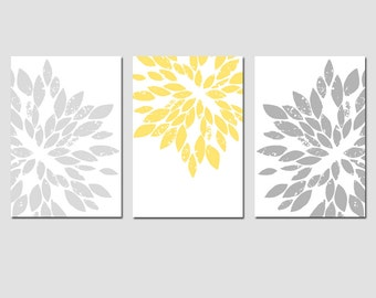 Modern Abstract Painterly Floral - Set of Three Large Scale 13x19 Floral Art Prints - CHOOSE YOUR COLORS - Shown in Pale Yellow, Gray