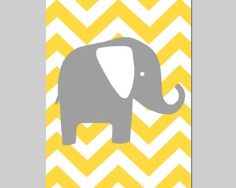 Chevron Elephant Silhouette Nursery Art Print - 13x19 - CHOOSE YOUR COLORS - Shown in Gray, Yellow, Aqua, Hot Pink, and More