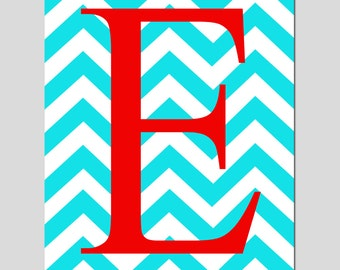 Chevron Initial Monogram - 8x10 Print - Nursery Art - Kids Wall Art - Choose Your Letter and Colors