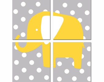 Polka Dot Elephant - Modern Nursery Art Quad - Set of Four 8x10 Prints - CHOOSE YOUR COLORS - Shown in Yellow, Gray, Orange, Pink and More