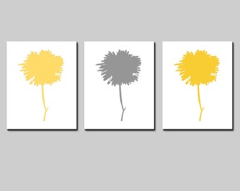Yellow and Gray Modern Flower Wall Art Trio - Set of Three 8x10 Prints - CHOOSE YOUR COLORS - Shown in Yellow, Gray, Pink and More