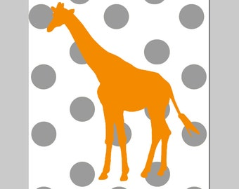Polka Dot Giraffe Nursery Decor - 8x10 Print - Nursery Art - CHOOSE YOUR COLORS - Shown in Orange, Gray, and More