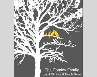 Family Established Personalized Print - 8x10 Custom Art - Birds in a Tree, Family Tree, Great Gift, Wedding Gift - CHOOSE YOUR COLORS