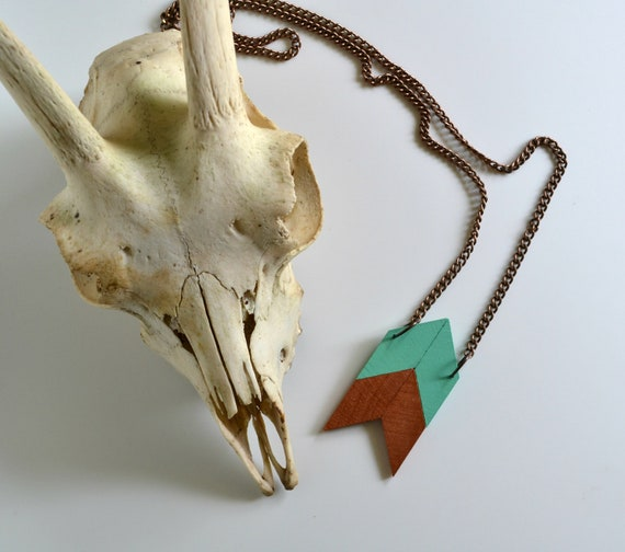Yuchi Large Arrow Chevron Tribal Necklace in Mint and Copper Color Block