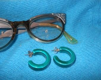70s VINTAGE AQUA Bluegreen EARRINGS Bling
