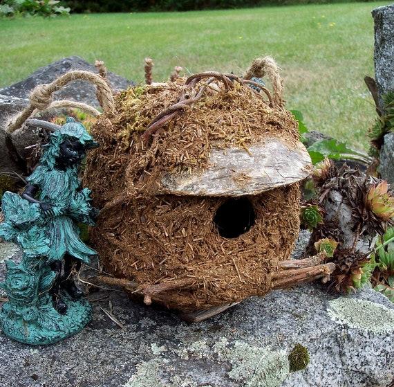 Handmade Birdhouse with birch bark, vines