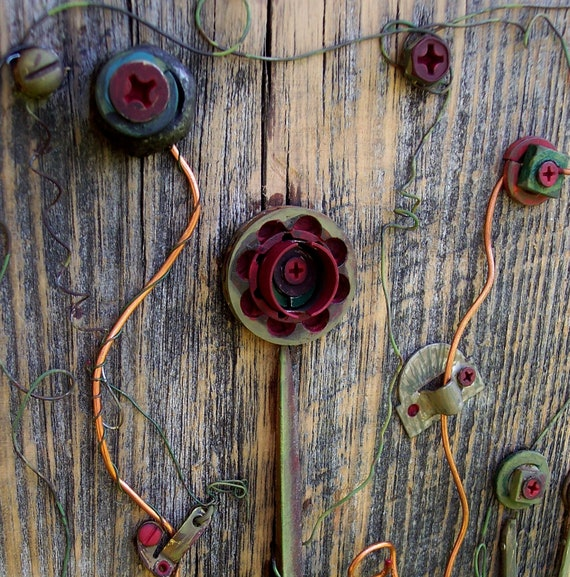Found object Art Assemblage, vintage garden on reclaimed Barn wood