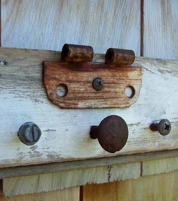 Reclaimed Wood Key rack with vintage hardware