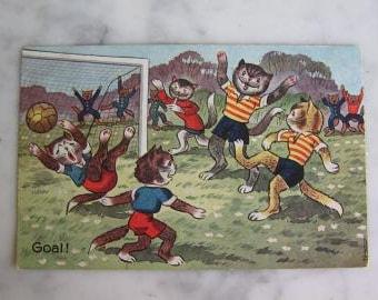 Vintage Dressed Cats. Antique Dutch  Postcard. Hooray Goal. Football. 1942