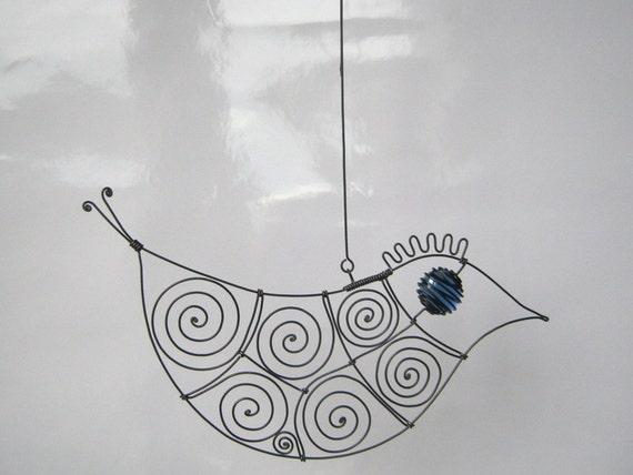 Wire Bird In Blue