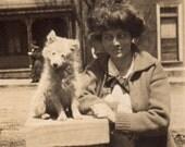 Vintage Photograph - adorable white dog with Leila RESERVED for carolmilner