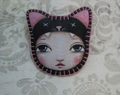 Black Kitty Cat Pin Hand Stitched Painting by Lisa Lectura