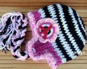 Girls Winter Hat, Striped Hat, Black And White Striped, Hippie Hat, Bohemian Hat for Kids, Boho Kids, Childrens Hat, Stirped Kids Hat