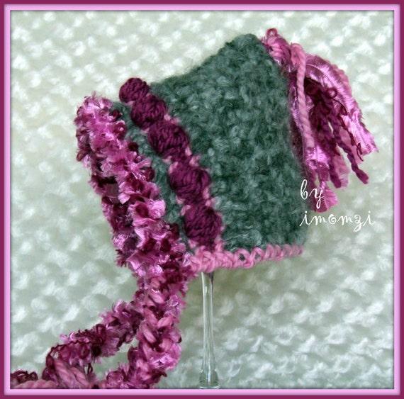 Crochet Hat Gray Pixie Hat Baby Girl Hat
