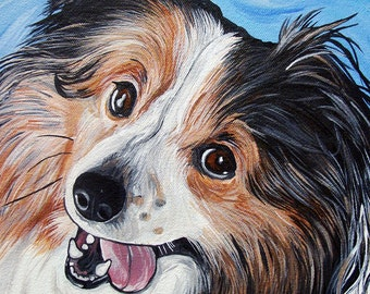 SHELTIE dog art print sable & white blue bright colors 5x7
