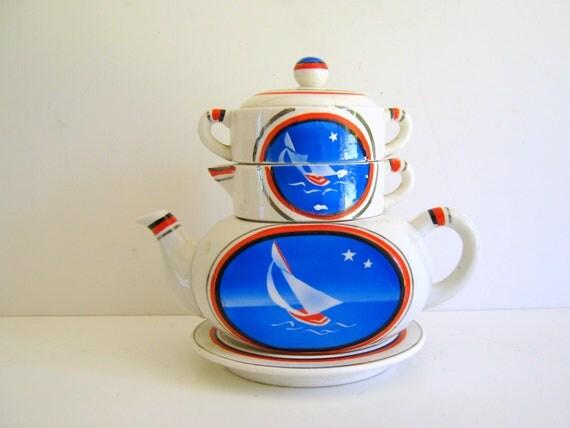 Vintage Tea Set Made in Japan Nautical 1940s