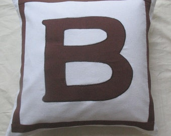 white and chocolate brown monogrammed pillows-18 inches
