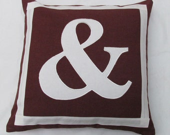brown with white monogram letter  pillow custom made -18 inches