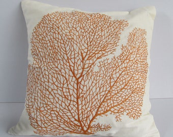 Orange coral  fan pillow  Nautical orange coral pillow coral embroiderd cushion covers. 16inch