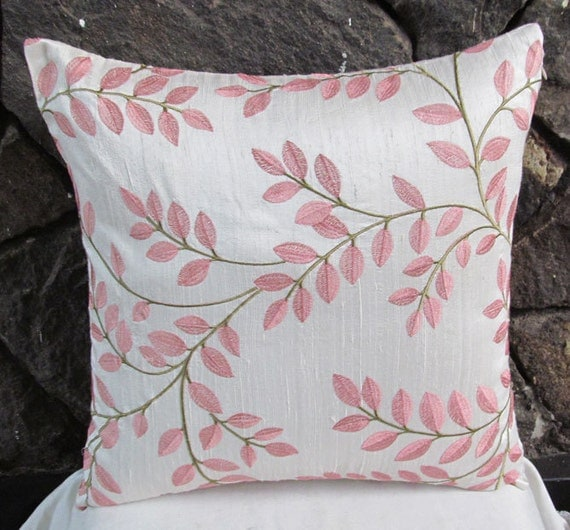 Off white silk throw pillow cover with  blush pink leaf embroidery 18 inch In stock last one