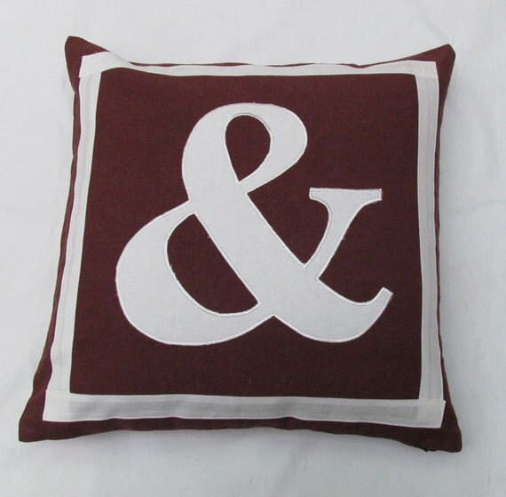brown throw pillow with white letter 20 inch  custom made monogram initial pillows