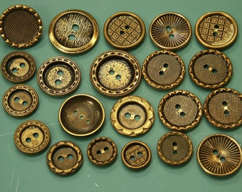 Lot of 21 vintage 1960s round in different in shape/ size ornamented brontzecolor brass metal buttons for your sewing/decoration prodjects