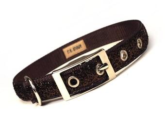 SALE - chocolate sparkle metal buckle dog collar (3/4 inch)