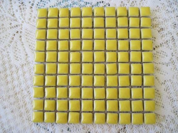 Bright Yellow Ceramic Tiles for Mosaics 3/8 inch Square Tiles Yellow Mosaic Tiles Yellow Ceramic Tiles Set of 100