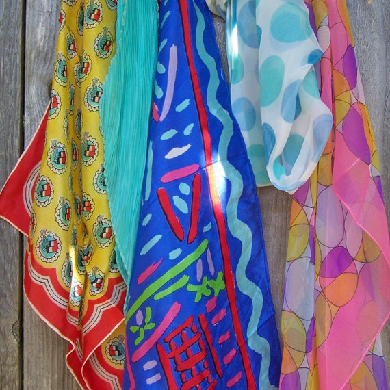 Collection of 5 Vintage Scarves, Bright Grouping
