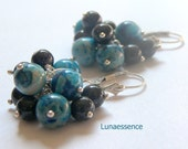 Blueberry Bunch Crazy Lace Agate Earrings