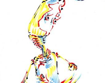 """ROBOT ART -- """"Worrybot"""" -- Original Color Drawing"""