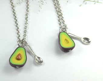 BFF Friendship Necklace 2pcs Food jewelry, avocado best friend necklace, food avocado necklace, vegan necklace, best friend gift for 2