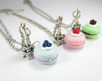 BFF Paris Macaron Necklace Friendship Necklace 3x food jewelry food necklace, best friend gift, best friend necklace set, friendship gift