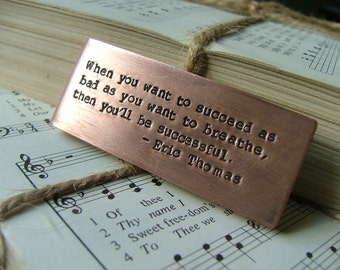 Custom Hand Stamped Copper Money Clip with Eric Thomas Quote Saying and Initials - by MyBella