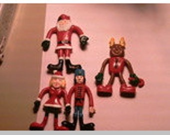 Supplies Destash Plastic Bendy Christmas People for Project Gifts