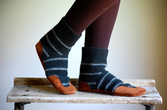 Wool Slipper Socks, Eco friendly & Made in the USA, women size 9.5, Forest for the Trees