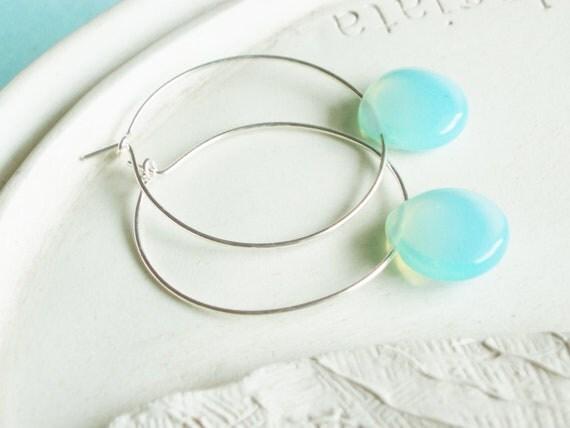 ChristmasinJuly - Silver Hoop Earrings - Pale Aqua Drop