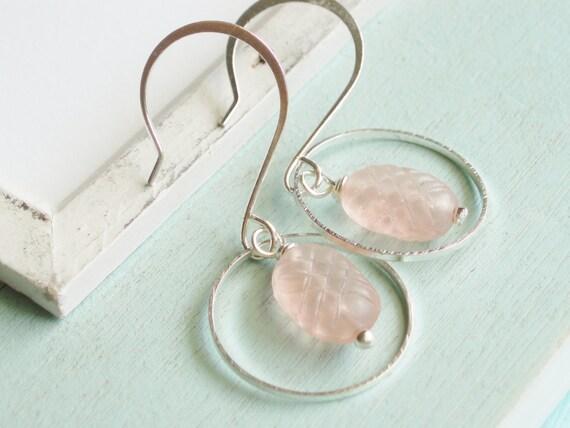 Silver Hoop Earrings - Pink Vintage Glass Bead Dangle Earrings